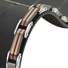 Dazzle Elegant and Sexy Stainless Steel Black Mens Bracelet with Bronze