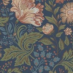 Ava gives you a room with unequalled sinuous floral beauty. It´s a new pattern for large rooms, painted with glorious summer in mind. Break free and lose yourself in this flora abundance. Ava comes in three colourways, autumn colours with a dark blue background, summer colours with a white background and lighter tints against a sandy background. The blue version of this pattern is also available as a wonderful velvet cushion. Ava Dark blue 400-86 by Sandberg.