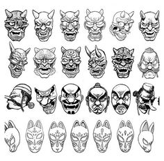 Japanese Demon Mask, Japanese Mask Tattoo, Japanese Drawings, Japanese Art, Japanese Yokai, Japanese Sleeve, Hannya Maske, Hanya Tattoo, Oni Tattoo
