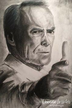 Clint Eastwood charcoal realistic portrait