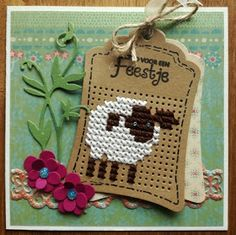 Ideas Gift Cars Ideas For Christmas Crafts Sheep Cross Stitch, Mini Cross Stitch, Cross Stitch Cards, Cross Stitch Animals, Stitching On Paper, Cross Stitching, Cross Stitch Embroidery, Cross Stitch Designs, Cross Stitch Patterns