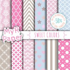 """Digital Paper: """"Sweet Colors"""" Baby Blue, Lilac, #Taupe, Light Pink, #Fuchsia with chevron, polka dots, stripes, damask, quatrefoil, Star  50% OFF ON ORDERS OVER 12 $ (OR NEAR... #patterns #design #graphic #digitalpaper #scrapbooking #taupe #fuchsia #printable"""