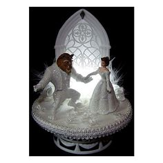 LIGHTED Beauty and the Beast Wedding CAKE TOPPER 2 found on Polyvore
