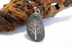 Modern Tree of Life Pendant  Engraved Stone by CreativeArtandSoul