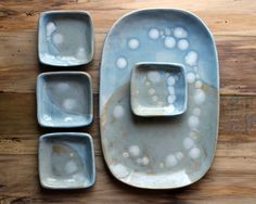 Gift for her Blue and Gray Ceramic Sushi by Gypsysistersstudio