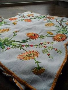 Vintage hand embroidered Irish linen tablecloth - orange Gerbera.