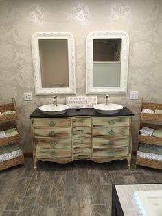 My Dream Bathroom!! Old Dresser Made Into Double Vanity!