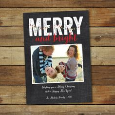 Holiday photo card printable chalkboard style, Christmas cards Merry and Bright, printed family card, picture post card by saralukecreative on Etsy https://www.etsy.com/listing/206976364/holiday-photo-card-printable-chalkboard