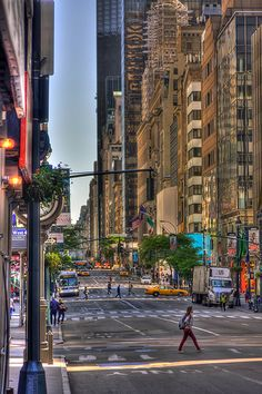 crossing 5th Avenue, Manhattan