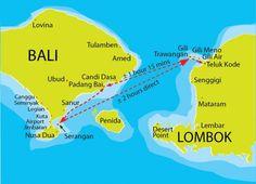 Map Bali to Gili Trawangan and Lombok Bali Lombok, Bali Gili, Gili Islands Bali, Bali Nusa Dua, Gili Trawangan, Ubud, Bali Travel Guide, Asia Travel, Lovina Bali