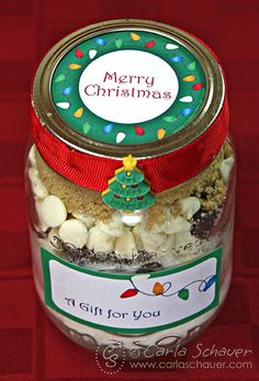 Christmas Lights Printable Canning Jar Labels on Layered Cookie Mix
