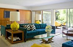 Furniture : Smart Midcentury Modern Living Room With Bright Pops Of Yellow Peaceful Mid Century Living Room Design Ideas. Century Furniture' Modern Living Space' Classic Living Room plus Furnitures Mid Century Modern Living Room, Mid Century House, Mid Century Modern Design, Living Room Modern, Living Room Designs, Living Rooms, Cozy Living, Bedroom Designs, Apartment Living
