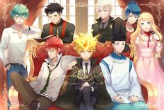 Vongola - Lampo, Knuckle, G, Vongola Primo Giotto, Alaude, Asari Ugetsu, Demon Spade, and Elena #group #sitting