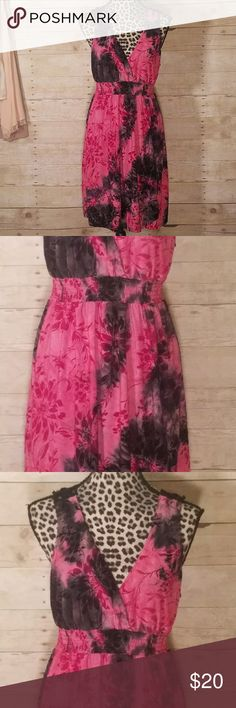 Black and Pink Tie Dye Dress With Lace Back sz L This dress has a gorgeous pink and black tie dye print with a black lace back. Elastic, thick band waist. Cotton knit, T-shirt style. Excellent condition, no flaws seen. sami Jo Dresses Mini