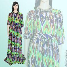 """Купить платье """"Капли дождя"""" - разноцветный, орнамент, платье, платье в пол, длинное платье, восток"""