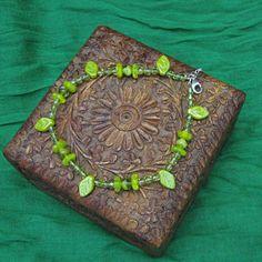 Beaded Anklet  Handmade Anklet Bracelet with Leaves by ErtheFae, $25.00