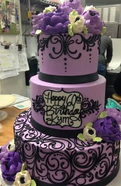 So beautiful. From the white flower cake Shoppe in Cleveland Ohio area. Pretty Cakes, Beautiful Cakes, Amazing Cakes, Cookie Cake Birthday, 60th Birthday Cakes, Birthday Ideas, How To Stack Cakes, Fancy Cakes, Cupcakes