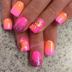 Orange Nails with White Accent Applying the Orange Strokes with a Striper – Add in some glitter, or dots, or pretty much what you would like.
