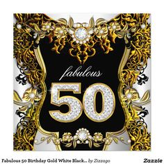 Fabulous 50 Birthday Gold White Black Diamond 5.25x5.25 Square Paper Invitation Card