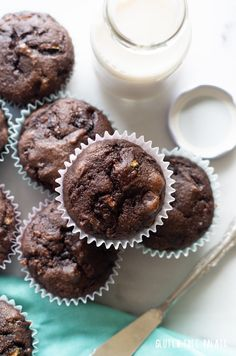Grain-Free Chocolate Zucchini Muffins that are gluten-free, dairy-free, and Paleo friendly. These paleo chocolate zucchini muffins are tender, chocolaty, and perfect for breakfast or snack. Paleo Zucchini Muffins, Chocolate Zucchini Muffins, Gluten Free Chocolate, Chocolate Recipes, Zuchinni Recipes, Paleo Dessert, Dessert Recipes, Healthier Desserts, Desert Recipes