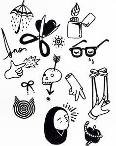 Handpoke tattoo flash 2 #mediocrux by eugeniaervi