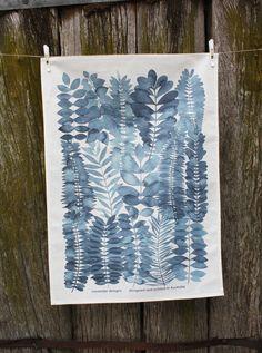 Indigo Garden Printed Tea Towel Meander Designs