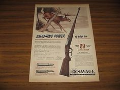 1951-Print-Ad-Savage-Model-99-Lever-Action-Rifles-Deer-in-Snow
