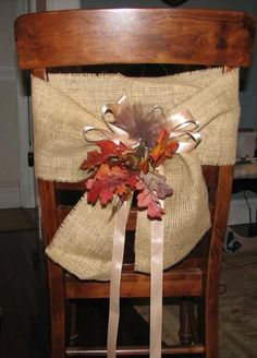 Burlap chair covers.   Holiday entertaining