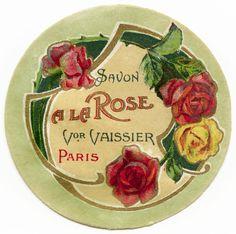 Vintage Perfume Label Prints | ... vintage digital ephemera, soap label with roses, old fashioned perfume