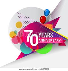 70 Years Anniversary logo with balloon and colorful geometric background, vector…