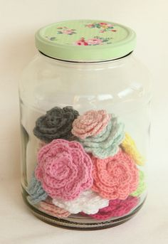 to be honest, i would crochet so many flowers just for that jar. that jar is so pretty.