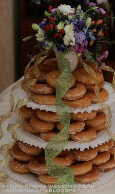 Our Krispy Kreme donut wedding cake (alternative wedding dessert) #doughnut