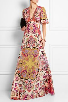 Shop on-sale Etro Printed silk crepe de chine maxi dress. Browse other discount designer Dresses & more on The Most Fashionable Fashion Outlet, THE OUTNET. Monica Vinader, Lanvin, Isabel Marant, Cheap Boutique Clothing, Discount Designer Clothes, Vogue Fashion, Silk Crepe, Colorful Fashion, Purple Dress