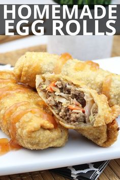 These delicious Homemade Egg Rolls are the perfect addition to your at home chinese food nights! No need to waste money on take-out! # Food and Drink homemade Homemade Egg Rolls Homemade Chinese Food, Easy Chinese Recipes, Asian Recipes, Beef Recipes, Cooking Recipes, Good Chinese Food, Chinese Food Dishes, Chinese Desserts, Healthy Chinese Food