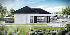 Projekt domu HomeKoncept-32 123,52 m2 - koszt budowy 257 tys. zł - EXTRADOM House Roof Design, House Outside Design, Small House Design, Facade House, Modern House Plans, Small House Plans, House Elevation, Living Room Pictures, Construction