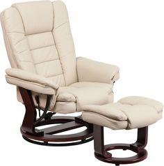 Contemporary Leather Recliner Beige Swivel Durable Upholstery Wood Furniture New #FlashFurniture #Contemporary