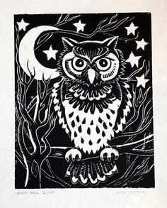 linoleum block designs owls - Google Search