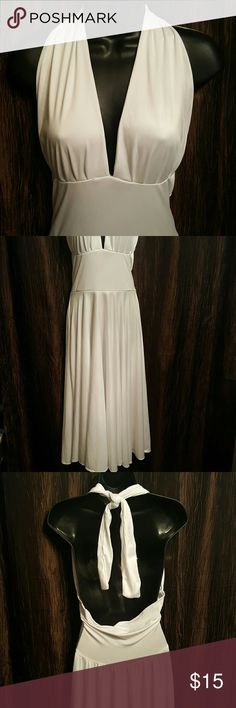 "Marilyn Pretty White Halter Dress. Neckline Tie. 1 small easy fix flaw. Pic posted. Price affected. Length 45"" Dresses Maxi"
