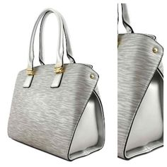 HP 4/8New - Silver Handbag HANDBAG / GOLD-TONE HARDWARE / ZIP TOP CLOSURE / INSIDE ZIP AND OPEN POCKET / REAR ZIP POCKET /TEXTURED FAUX LEATHER / HANDLE DROP 7 INCH / REMOVABLE STRAP / H 10 INCH X W 14 INCH X D 4 1 / 2 INCH Bags
