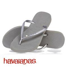 Havaianas Slim Crystal Flip Flops in Black & Silver!