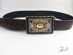Womens belt buckle Antiqued brass Vintage pearl by EyesofAnastasia