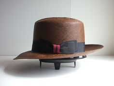 Brown Panama Optimo Crown hat with two color knot.