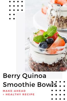 Berry quinoa smoothie bowls are a healthy, clean eating, protein-packed breakfast that'll keep you full until lunchtime - and won't take much time to prepare. Gluten-free, make ahead, plant based. Healthy Make Ahead Breakfast, Protein Packed Breakfast, Smoothie Recipes For Kids, Breakfast Smoothie Recipes, How To Prepare Quinoa, Easy Clean Eating Recipes, Healthy Eating, What Is Quinoa, Food Words