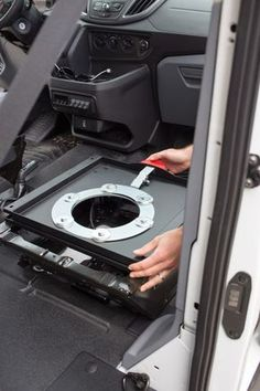 Learn how-to install a swivel seat adapter on a Ford Transit van. A swivel adapter allows your front factory seats to turn and face the back of the van. Kangoo Camper, Sprinter Camper, Siege Camping, Sportsmobile Van, Accessoires Camping Car, Peugeot Expert, Vw T3 Syncro, T5, Ford Transit Camper