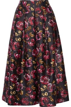 Oscar de la Renta for THE OUTNETPleated silk and wool-blend floral-jacquard midi skrit