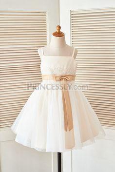 Spaghetti Starps Champagne Satin Ivory Lace Tulle Wedding Flower Girl Dress