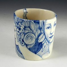 Large blue and white porcelain cup with rabbit and by PSPorcelain ~~~~NOTHING gets more pins on my boards than this item. :)
