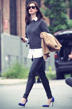 Anne Hathaway filming a scene for her upcoming movie The Intern