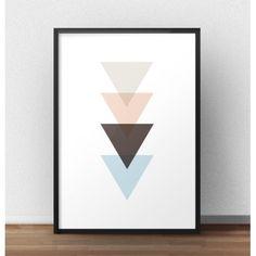 Plakat przedstawiający linię nachodzących na siebie trójkątów to propozycja dla tych, którzy kochają skandynawski styl! Tu trójkąt rządzi!