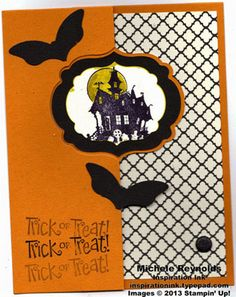 Flip card made with Label Card Thinlits Die and Best of Halloween Set.  Some punch art bats too!